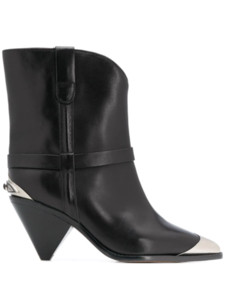 Women Shoes Paris Lamsy Metal-insert Boots Black Leather Steel Cap Boots