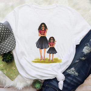 Women Mom Daughter Girl Aesthetic Printing Mama Cartoon Mother Graphic Tees Clothes Print Tops Lady Female T Shirt T Shirt