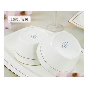 60 Chinese Style Bone China Tableware Set Dinnerware Set Gold Inlaid Jade Trace Gold Simplicit jllBri comb2010