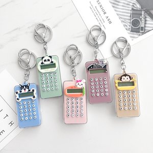 Plastica Mini keychain del fumetto portatile sveglio di Pocket Calculator catena articoli per ufficio dell'allievo cancelleria Portachiavi