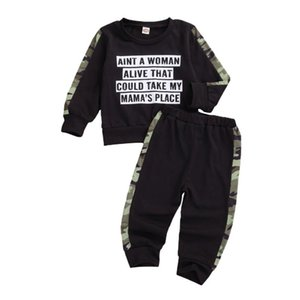 Toddler Boys Clothing Set Letter Long Sleeve Letter T shirt Tops+Camouflage Pants Children Outfits Kids Clothes Sets Fall Winter