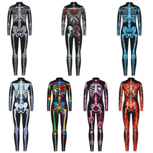 New Halloween Scary Cosplay Costumes for Kids Skeleton Bodysuit Devil Vampire Carnival Party Clothing Skull Dress Jumpsuit