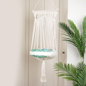 Boho Cat Swing Cage Handmade Macrame Pets Support Nordic Pet House Cat Hanging Sleeping Chair Seats Toy HG99