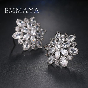 Emmaya Hot Sell Cubic Zircon Femmes Stud Stud Elegant Bridal Mariage Fleur Gouette Goujons Livraison Gratuite