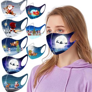 Новогоднее украшение дизайнер маска Сант-Клаус лоси дома напечатаны cosply маски для лица мужчины женщины взрослых пылезащитной маски для лица дымки