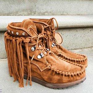 Ayak bileği Kadınlar Boots Büyük Beden daireler ayakkabı Patik gladyatör bağbozumu suni süet yuvarlak ayak dantel Ayakkabı püsküller botas kadar mujer