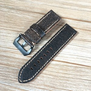Cinturino Wristband per PAM PAM249 305 422 Big Pilot Watch Strap Fenix3 Garmin AAA 26 millimetri Grey Bla morbida vera pelle