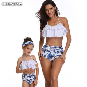 Mother Daughter Swimsuit Family Look Mommy and Me Bikini Clothes Ruffle Mom Daughter Swimwear Family Matching Clothes LJ201111