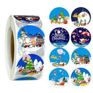 500pcs roll Merry Christmas Santa Claus Elk Sleigh Snowman Stickers 500pcs for Xmas Thank You Greeting Cards Gift Decor