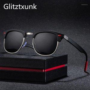 Glitztxunk Classic Polarized Солнцезащитные очки Мужчины Женщины Ретро Мода Бренд Дизайнерская Квадрат Черные Солнцезащитные Очки Для Мужчины Зеркало UV4001