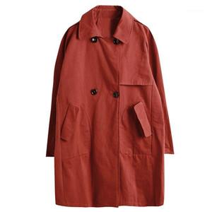 Winter Long Sleeve Windbreaker Double Breasted Winter Long-sleeved Windbreaker Red Trench Coat Women Trench Coat Women HH50FY1