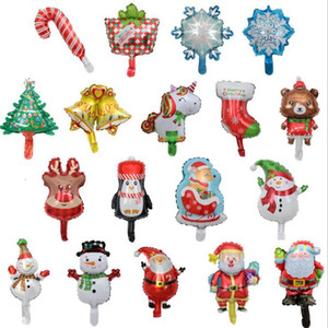 Mini Christmas Cartoon Shape Metallic Toys Xmas Santa Bell Socks Tree Snowfiower Balloons Birthday Decoration Gifts LSK858