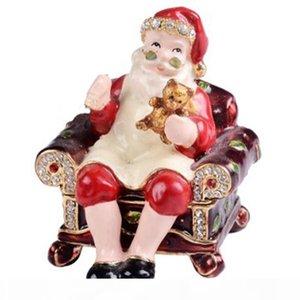 Christmas Santa Claus faberge trinket & jewelry box metal crafts birthday Christmas decoration gifts