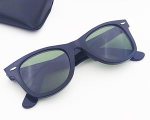 Calidad 50mm para hombres mujeres gafas de sol plaza acetato marco real uv400 lentes de vidrio mujeres hombres gafas de sol con accesorios cajas