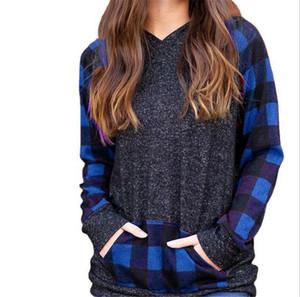 크리스마스 여성 T 셔츠 후드 Plaid Patchwork 긴 소매 까마귀 스웨터 숙녀 후드 풀오버 탑스 Tshirt 포켓 S-2XL E110201