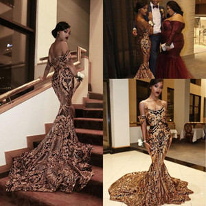 Shiny Gold And Black Prom Dresses Mermaid Off Shoulder Sequined 2021 Sexy Girls Special Occasion Gowns Engagement Dress Formal Evening Wear