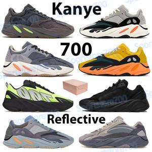Kanye 700 Schuhe Männer Frauen Turnschuhe solide grau Sonne triple schwarz statisch teal Kohlenstoff, blau, orange Salz mauve reflektierende Herren-Lauftrainer
