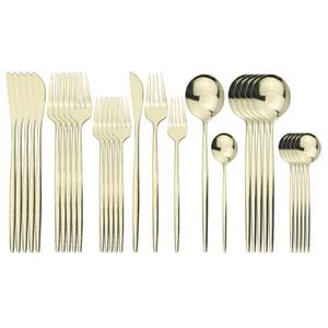 30Pcs White Gold Cutlery Set 304 Stainless Steel Dinnerware Set Knife Dessert Fork Coffe Spoon Dinner Silverware Home Kitchen Tableware