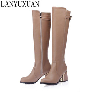 LANYUXUAN 2020 New Big size and Small Sale 30-54 Botas Mujer Boots Shoes Woman Fashion High heels Autumn Winter Boots Women A18