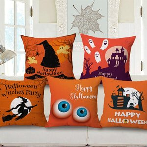Decorative Throw Pillow Case Cover Happy Halloween Cute Cartoon Wizard Seat Cushion Cover Decoration For Sofa Home