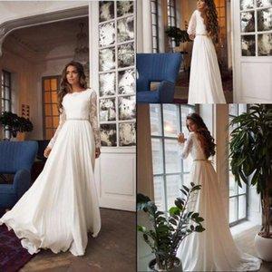 Cheap Long Sleeves Lace Bateau A-line Chiffon Beach Wedding Dresses Elegant Open Back Beach Bohemain Bridal Gown