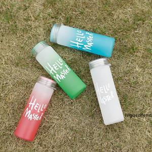 Frosted Gradient Wasserflasche aus Mattglas Hallo Meister Wasserflasche Frosted Gradient Leakpoof Reisen Wasser-Saft-Flasche 14 Unzen