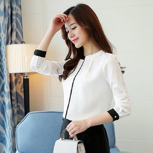 Office Ladies Blouse 2020 Korean style Elegant White Chiffon Shirt Patchwork Stand Neck Overalls Work Top Plus Size Clothing
