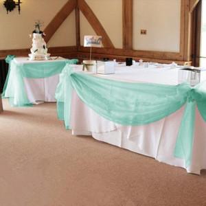 Mint Green 1000см * 135см Органза Swag Ткань Свадьба для мероприятия Сторона Украшения Украшения Стол Юбка, Столовая Юбка Бесплатная Доставка Y201006