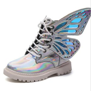Winter Girls Boots Children's Rain Boots Butterfly Wing Short Colorful Winter Warm Shoes for Girls Birthday Gift