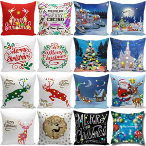 Natal LED fronha 45 * 45 centímetros Plush Tampa Início Sofá decorativa Lance Pillowcase iluminado Capa Pillow Criativo