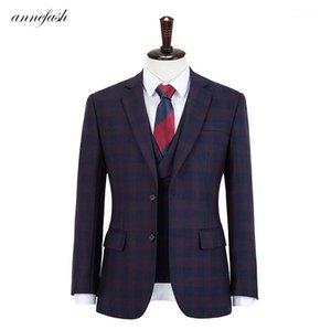Herrenanzüge Blazer Sonderanfertigte Hohe Qualität 150's Kollegierte reine Wolle Hellblau Windowpane Business Anzug Männer Slim Fit Anzug (Jacke + Pfanne)