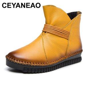 CEYANEAO 2020Women Ankle Boots Lace Up Vintage Genuine Leather Shoes Woman Plus Size Platform Winter Warm Boot Woman Shoes