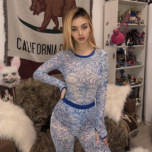 Sisterlinda 2020 Mesh See Through Printed Sexy Bodysuit Pants Two Piece Female Set Fashion Elasticity Rompers Leggings Mujer