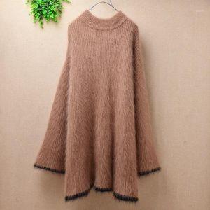Suéteres superiores Peluche Mink Cashmere O-cuello Pullover Angora Piel Punto de punto suelto Suéter de destello Slim Fashion Dress1