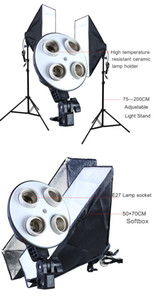 FreeShipping Diffuser Light 50*70cm Continuous Lighting Softbox for 4-in-1 Socket E27 Lamp Holder with 2Pcs 2M light Stand Photo Studio Kit