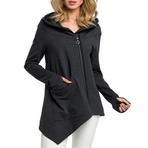 Lady Oblique Zipper Hoodies beiläufige Street Wear Frauen Unregelmäßige Kapuze Mantel Trendy Hoodie feste lange Hülsen-Kleidung Sweatshirt