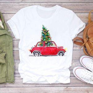 Women Plaid Cartoon Car Tree Snow New Year Cute Merry Christmas Print Tshirts Top T Shirt Ladies Graphic Female Tee T Shirt