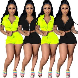 womens sportswear short sleeve jacket shorts outfits shirt shorts 2 piece set skinny shirt pants sport suit pullover tights klw0143