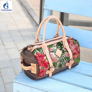 ART Hand painted Flowers Personal customied Boston Barrel bag Leather Cowhide Bag Messenger Portable Handbags Cylindrical bag