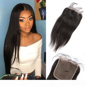 Peruvian Body Wave Straight Human Hair 6X6 Lace Closure 8-20inch Natural Color Six By Six Virgin Hair Baby Hair Closure