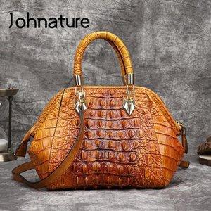 Johnature genuíno bolsa de couro mão pintado jacaré em relevo mulheres bolsa 2020 novo retrô couro de couro messenger bag c0121