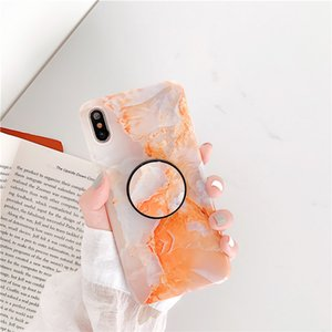 Fashion Marble Silicone Phone Case With Phone Holder For iPhone 6 7 8 Plus X XR XS Max