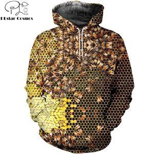 PLstar Cosmos manera de los hombres sudaderas de insectos abeja 3D Imprimir con capucha unisex informal streetwear sudadera con capucha sudadera hombre 201005