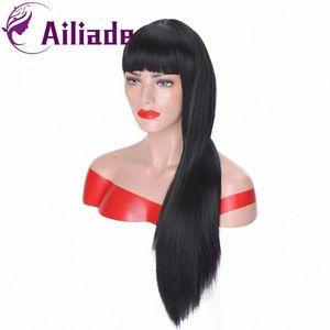 AILIADE larga recta Negro Mujeres peluca sintética Negro rojo y rubio pelucas para Blanco / Con Bangs Naturaleza pelucas pelucas asiática rk7p #