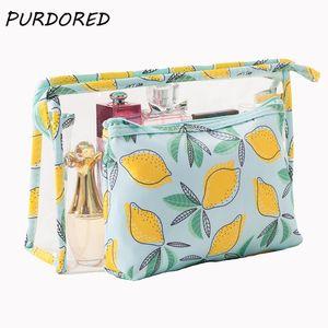 Lock Pcs set Women Cosmetic Zip Bag Makeup Printed Lemon Travel Bag Totes Waterproof Organizer Bags PVC PURDORED2 Storage Clear Ifmuu