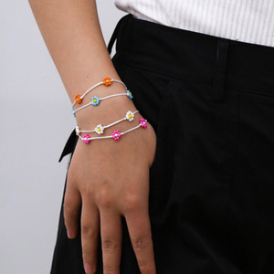 Foot Rope Colorful Bohemian Flower Summer Beads White Bracelet Seed Handmade Anklets Women Chain Jewelry Beach Leg tsetJHM whole2019