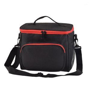 Изолированная сумка для обеда для женщин Men Cooler Kids Tote Pictic Thermal Lunch Box, Black1