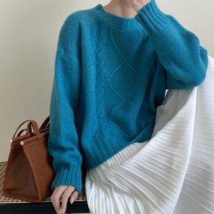 Yeeloca Sonbahar Tatlı Katı Renk Kadın O-boynunu Zayıflama Dış Giyim Kazaklar Kore Gevşek Örme Triko çevirin