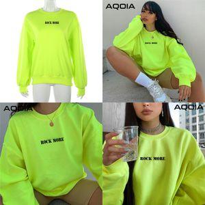 Aqoia Harajuku O-Neck Langarm Lose Brief Fluoreszierender grüner Sweatshirt Frauen 2019 Herbst Winter Dicke Pullover Kleidung Q0105