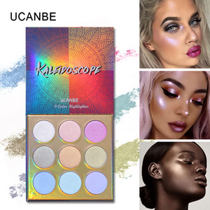 Bright Rainbow Eyeshadow Palette Highlight 9 Color Eye Shadow UCANBE Kaleidoscope Pressed Powdery Eyes and Face Highlighter Makeup Palettes